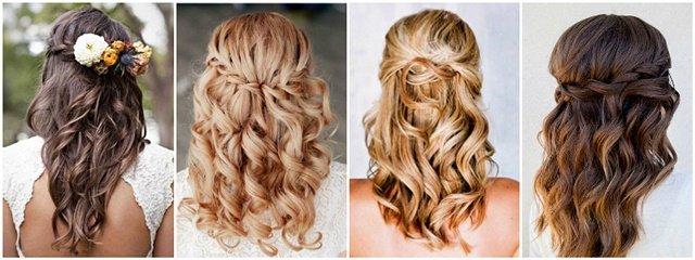 Frizura sa polupodignutom kosom srednje dužine za venčanje