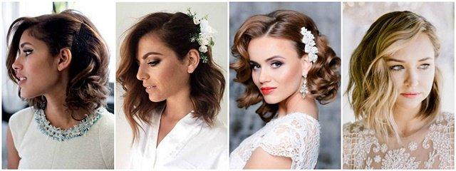 Frizura za venčanje za kratku kosu sa jednom začešljanom stranom