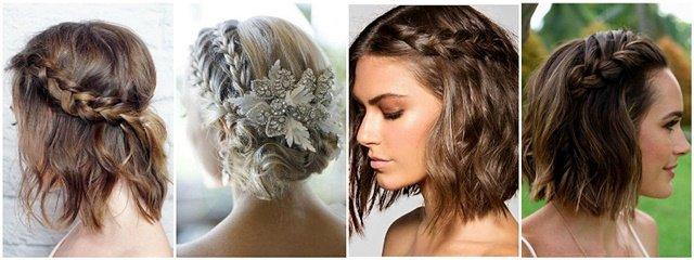 Frizura za venčanje za kratku kosu sa pletenicama