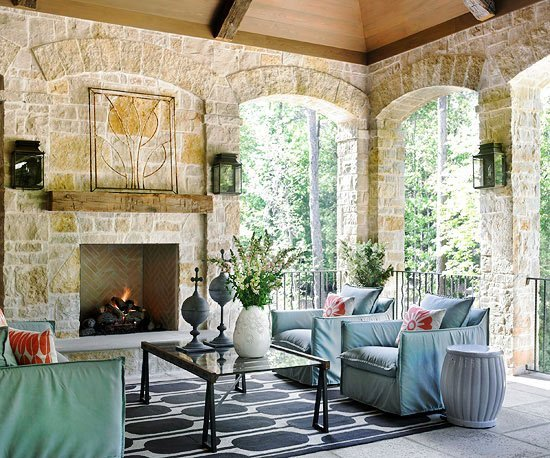 veranda s kamina