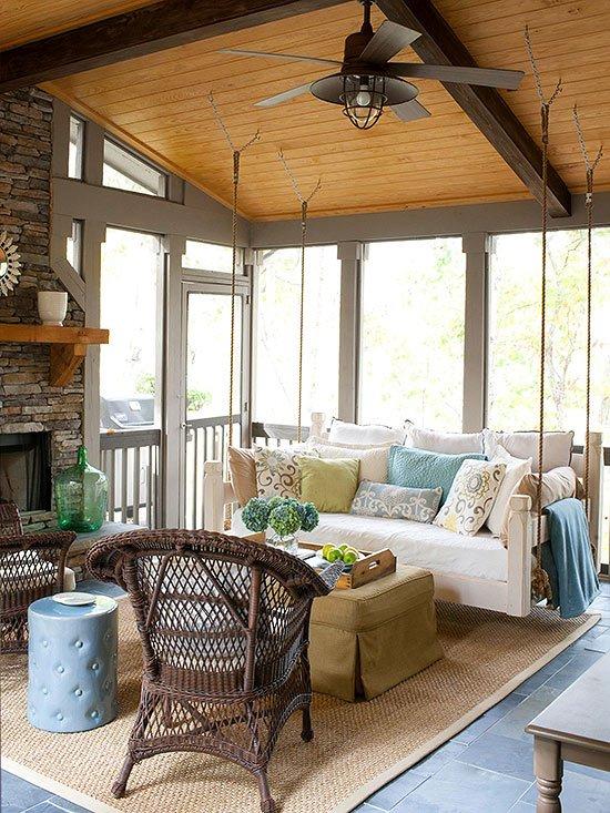 durvena veranda s kamina