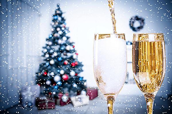koledni kartinki s shampansko i elha