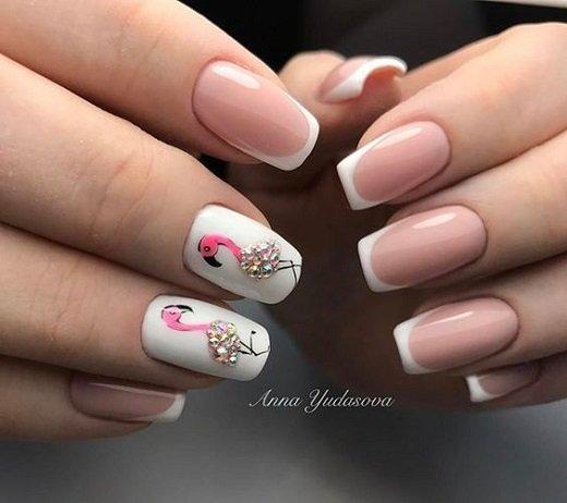 frenski manikur s flamingo dekoraciq
