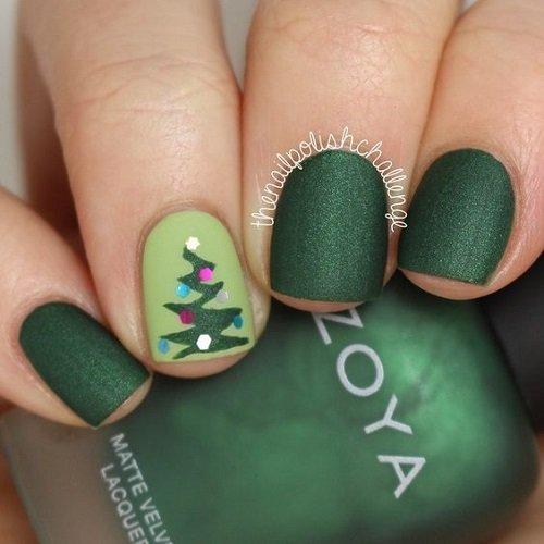 zelen koleden manikur za kusni nokti