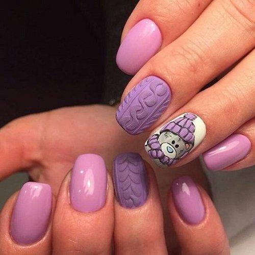 koleden manikur v lilavo s meche dekoraciq