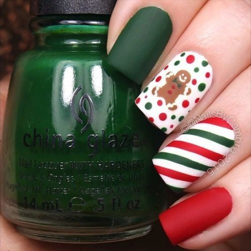 koleden manikur cherven zeleno