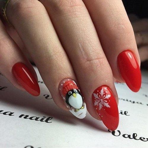 cherven koleden manikur s dekoraciq pingvin