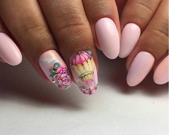 nokti badem rozov manikur