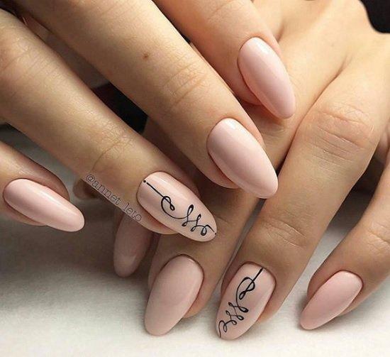 sempul manikur za nokti badem forma