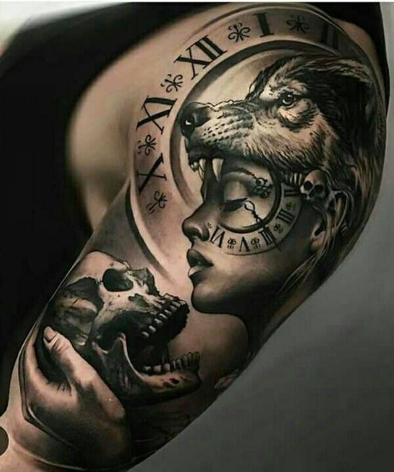 vulk tatuirovka za ruka