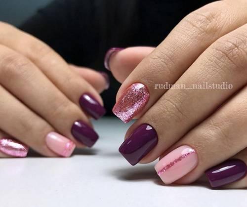proleten manikur v rozovo lilavo brokat
