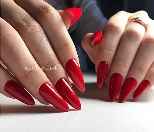 cherven manikur za ostri nokti